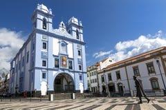 La iglesia Igreja de Misericordia en Angra hace Heroismo, Terceira, islas de Azores, Portugal fotos de archivo