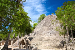 La Iglesia Pyramid, Coba, Mexico Royalty Free Stock Images