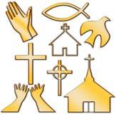 La iglesia y el otro Christian Symbol Set Fotos de archivo