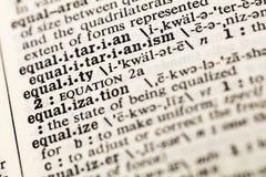La igualdad iguala el diccionario igual de la justicia de la diversidad imagen de archivo