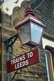 La iluminación de la estación en la estación Settle establece - el ferrocarril de Carlisle imagen de archivo