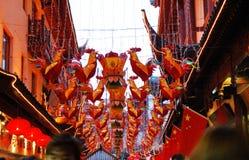 La iluminación del color del Año Nuevo del chino tradicional Imagenes de archivo