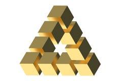La ilusión óptica del triángulo de Penrose Fotografía de archivo