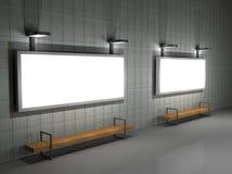 La ilustración de un advertisign del espacio en blanco firma en la noche Fotografía de archivo