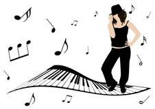 La ilustración de un piano, las notas de la música y la muchacha cantan ilustración del vector