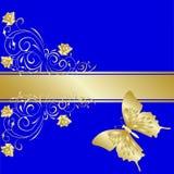 La ilustración floral con oro se levantó Foto de archivo libre de regalías