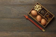 La imagen aérea de la visión superior tiró de Año Nuevo chino de la decoración del arreglo y lunar Imagenes de archivo
