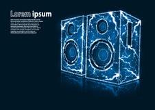 La imagen azul del brillo de altavoces de audio formó por los relámpagos Foto de archivo