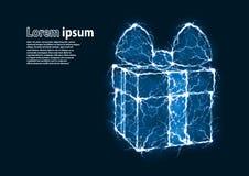 La imagen azul del brillo de un regalo formó por los relámpagos Fotografía de archivo libre de regalías