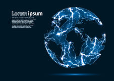 La imagen azul del brillo de una tierra del planeta formó por los relámpagos Foto de archivo libre de regalías
