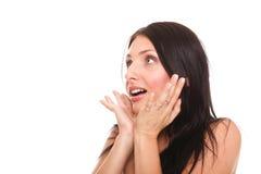 La imagen brillante de la mujer bonita asombrosa con entrega la boca Foto de archivo libre de regalías