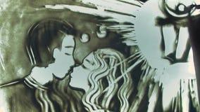 La imagen cercana de la animación de la arena de la visión representa pares en amor almacen de video