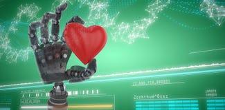 La imagen compuesta de la imagen 3d de la tenencia del cyborg oyó forma Fotos de archivo