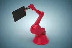 La imagen compuesta de la imagen gráfica de la tableta digital se sostuvo al lado del robot rojo 3d Foto de archivo