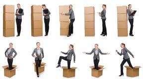La imagen compuesta de la mujer con las cajas Foto de archivo libre de regalías