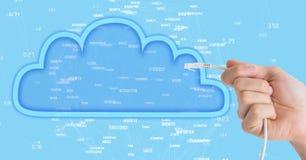 La imagen compuesta de la mano que sostenía el cable en azul ilustró la nube ilustración del vector