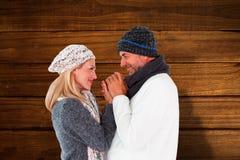 La imagen compuesta de pares en invierno forma el abarcamiento Imagen de archivo libre de regalías