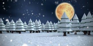 La imagen compuesta de tridimensional de árboles encendido archivó durante invierno Foto de archivo