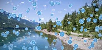 La imagen compuesta del bastidor completo tiró de iconos azules circulares del ordenador Imagen de archivo