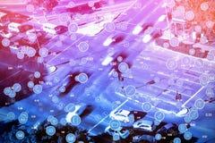 La imagen compuesta del bastidor completo tiró de iconos azules circulares del ordenador Imagen de archivo libre de regalías
