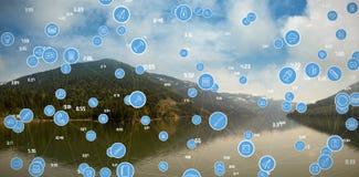 La imagen compuesta del bastidor completo tiró de iconos azules del ordenador Foto de archivo libre de regalías