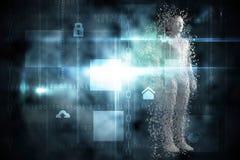 La imagen compuesta del gris compuesto pixelated al hombre 3d libre illustration