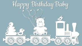 La imagen con el cumpleaños inscripción-feliz Plantilla con el ejemplo del vector de juguetes Para el corte, el trazador y el sil ilustración del vector