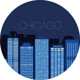 La imagen de la ciudad grande dentro del círculo libre illustration