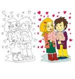 La imagen de la historieta de los pares para el día de tarjetas del día de San Valentín ilustración del vector