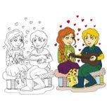 La imagen de la historieta de los pares para el día de tarjetas del día de San Valentín stock de ilustración