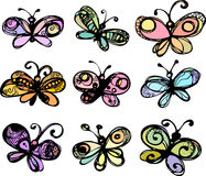La imagen de las mariposas estilizadas. Imagenes de archivo