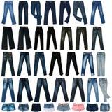La imagen de los pantalones de los pantalones vaqueros, cortocircuitos, las faldas. Fotografía de archivo