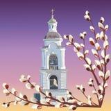 La imagen de un campanario de la alta iglesia y de ramitas del sauce de florecimiento contra el cielo de igualación ilustración del vector