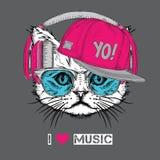 La imagen del gato en los vidrios, auriculares y en sombrero del hip-hop Ilustración del vector Fotos de archivo