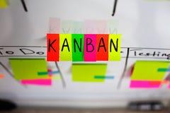 La imagen del sistema kanban de la inscripción coloreó etiquetas engomadas en un fondo blanco Foto de archivo libre de regalías