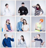 La imagen dividió en nueve porciones con diversas trayectorias de la carrera Hombre joven y mujer en uniformes Foto de archivo
