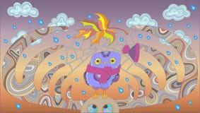 La imagen en el tema del otoño, del búho divertido y de alces ilustración del vector