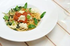 La imagen es espagueti muy sabroso boloñés Fotografía de archivo