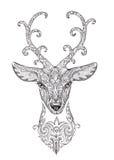 La imagen estilizada, tatuaje de un ciervo hermoso del bosque dirige con el cuerno Imágenes de archivo libres de regalías