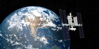 La imagen extremadamente detallada y realista de la alta resolución 3D de la tierra que estaba en órbita internacional de la esta libre illustration