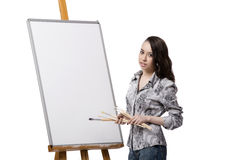 La imagen femenina del dibujo del artista aislada en el fondo blanco imagen de archivo libre de regalías