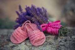 La imagen magnífica del pequeño rosa del bebé calza las sandalias cerca del ramo de la lavanda con la línea de seda rosada de la  foto de archivo