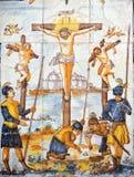La imagen religiosa, Jesús se clava a la cruz, vía Crucis foto de archivo libre de regalías