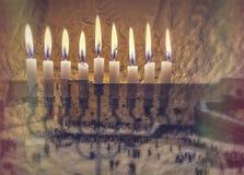 La imagen simboliza el día de fiesta de Jánuca y los deseos y las esperanzas judíos imágenes de archivo libres de regalías