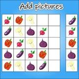 La imagen Sudoku es un juego educativo para el desarrollo del pensamiento lógico de los niños s Nivel de la dificultad 1 Verduras stock de ilustración