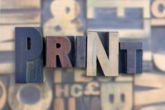 La impresión de la palabra Imagenes de archivo