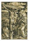 La impresión de Woodblock del grabar en madera de la crucifixión Foto de archivo