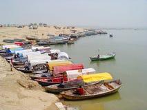 La India - Allahabad - barcos Imagenes de archivo