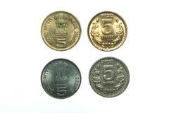 La India cinco monedas de la rupia Fotos de archivo libres de regalías