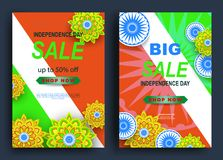 La India, Día de la Independencia diseño feliz con las flores, símbolo, bandera del fondo del 15 de agosto Plantilla para el cart libre illustration